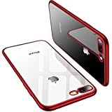 TORRAS Crystal Clear iPhone 8 Plus/iPhone 7 Plus, Soft Cover Case with Electroplated Frame Ultra Slim TPU Gel Case Compatible with Apple iPhone 7 Plus/8 Plus, Clear Back&Red Frame