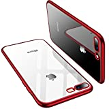 TORRAS Crystal Clear iPhone 8 Plus Case/iPhone 7 Plus Case, Soft Cover Case with Electroplated Frame Ultra Slim TPU Gel Case Compatible with iPhone 7 Plus/8 Plus, Clear Back & Red Frame