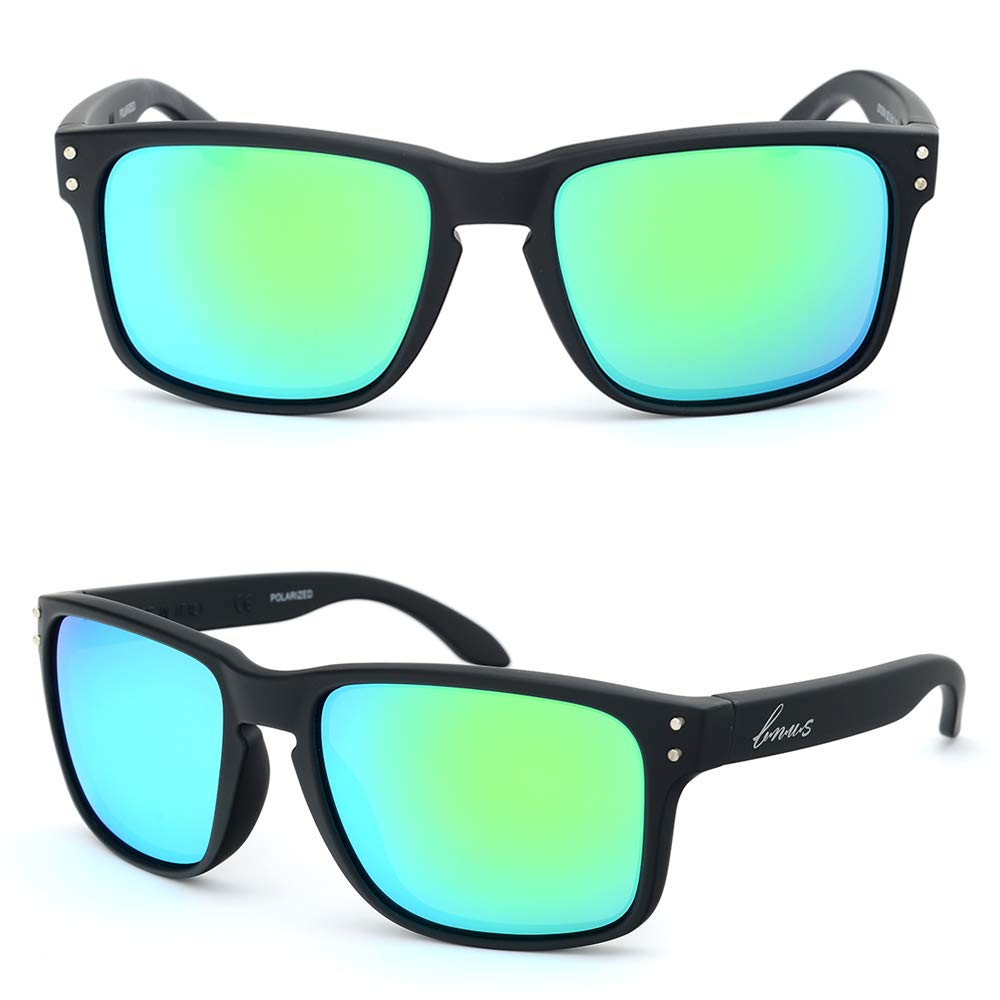 BNUS Sunglasses polarized Shades for men women green mirrored lenses (Frame: Matte Black, Polarized Green Flash)