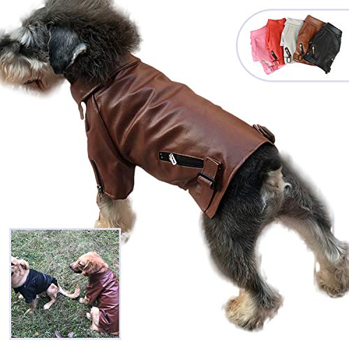 (Lovelonglong Cool Dog Leather Jacket, Warm Coats Dogs Windproof Cold Weather Coats for Large Medium Small Dogs, Brown Color Miniature Schnauzers Clothing)