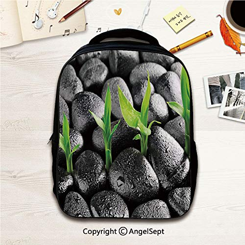 Water Chrome Water Harmony - Little Kid Backpacks With Chest Strap,Basalt Stones with Bamboo Leaves Sticking Water Droplets Harmony of Nature Dark Taupe Lime Green 12.2inches,Lightweight Packable Durable Hiking Backpack
