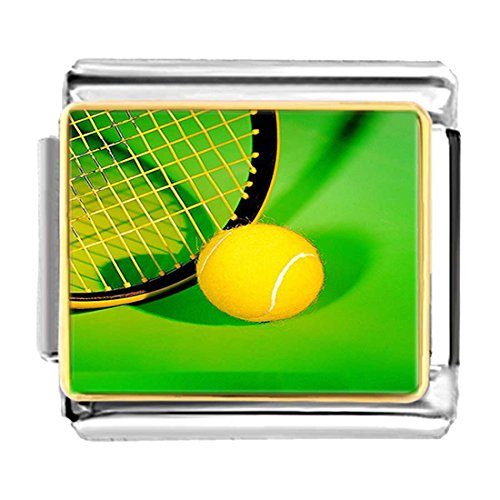 Charm Tennis Ball Italian - GiftJewelryShop Gold Plated Olympics Tennis Ball and Racket Bracelet Link Photo Italian Charm