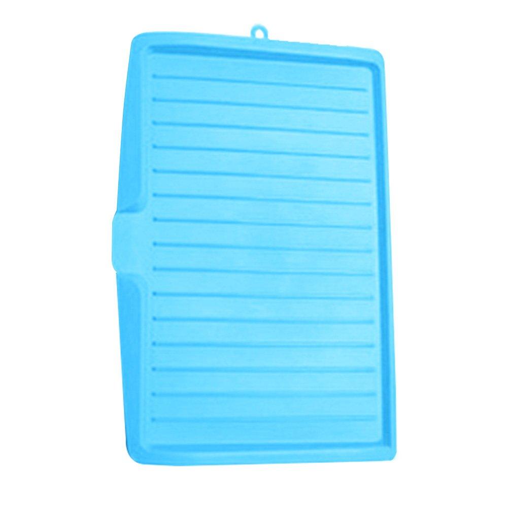 Tama/ño libre azul Escurreplatos de pl/ástico tapete de silicona multiusos para vajilla posavasos blanco