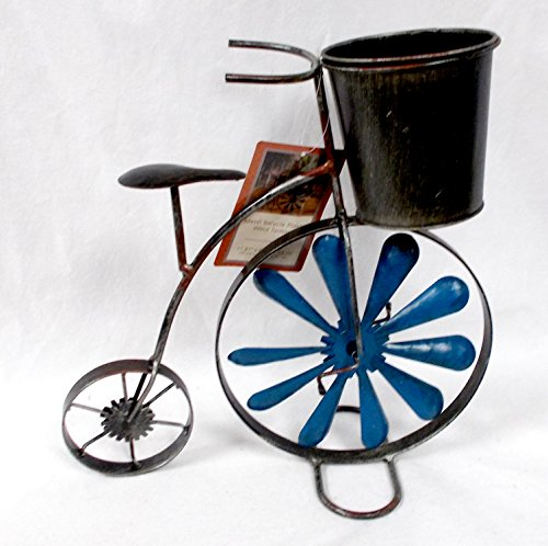 Metal Rustic Bicycle Unicycle Planter Wind Spinner Wheel Decor Indoor/Outdoor 12x12' (12' Wind Spinner Spinners)