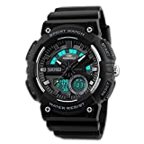 Men's Sport Watch, Dual Dial Waterproof Digital Analog 24H Military Outdoor Electronic LED Back Light Display Alarm Stopwatch 50M Water Resistant for Kids Boy Children Black Grey