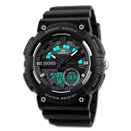 Men's Sport Watch, Dual Dial Waterproof Digital Analog 24H Military Outdoor Electronic LED Back Light Display Alarm Stopwatch 50M Water Resistant for Kids Boy Children Black Grey (Dual Time Stopwatch)