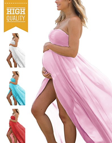 31e730faa6 Maternity Off Shoulder Tube Chiffon Gown Split Front Maxi Photography Dress  for Photo Shoot (A- Light Pink) - Buy Online in Oman.