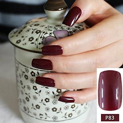 24 piezas de uñas postizas de acrílico curvadas de color rojo vino tinto para uñas postizas