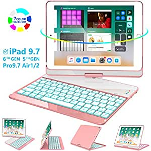 Greenlaw iPad 9.7 Keyboard Case Compatible iPad 2018(6th Gen)/2017(5th Gen)/iPad Pro 9.7/Air 2/Air, 360 Rotate 7 Color Backlit Wireless BT Keyboard ...