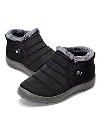 BJ Shoes Warm Wool Lining Flat Ankle Snow Boots For Women