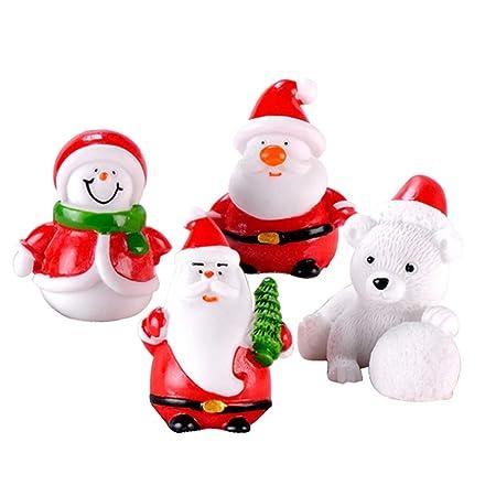 Hinleise 4X Decoración Mesa de Navidad Micro Paisaje Bonsai Forma ...