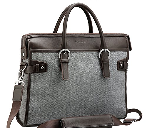 Handle Computer Briefcase (14 Inch Laptop Bag / Shoulder Briefcase - Computer Sleeve with handles, Case Great for Women and Men - (Improved Strap) 13 14 Inch / MacBook Air - Pro / Notebook / HP / Ultrabook Portable, Grey)