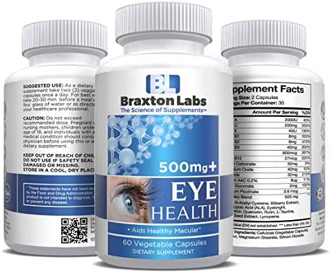 Braxton Labs Eye Health 500mg+ 60 Capsules Proprietary Blend Includes, Lutein,N-Acetyl,c ysteine,Bilberry Extract,Alpha Lipoic Acid,Eyebright,Zeaxanthin,Quercetin,Rutin,L-Taurine,Grape Seed Extract,+