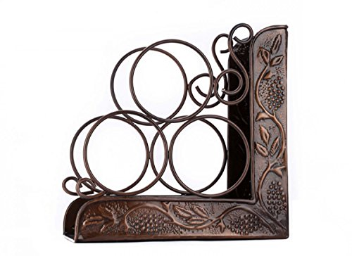 Old Dutch 10.25 x 4.75 x 10.25 Antique Embossed Heritage 3 Bottle Wine Rack Bookend