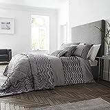 Happy Linen Company Crushed Velvet Wave Effect Panel Luxury Slate Grey King Duvet Cover Bedding Set