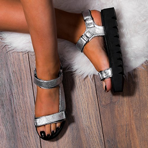 SPYLOVEBUY KERSHA Mujer Sandalias de dedo Planos Sandalias Plata - Cuero Sintético