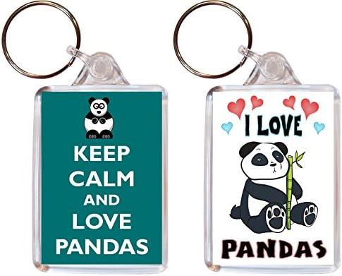 2 x (silicona), diseño de oso panda pandas Llaveros - I Love ...