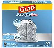 Glad ForceFlex Tall Kitchen Odor Shield Drawstring Trash Bags, White - 13 gal - 68 ct
