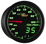 diesel fuel pressure gauge - MaxTow Double Vision 100 PSI Fuel Pressure Gauge Kit - Includes Electronic Sensor - Black Gauge Face - Green LED Illuminated Dial - Analog & Digital Readouts - For Trucks - 2-1/16