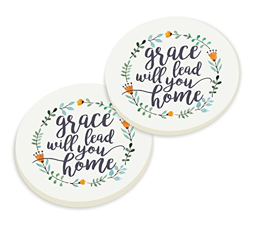Grace Will Lead Me Home Floral Wreath Set of 2 Ceramic Car Coaster Pack by P Graham Dunn