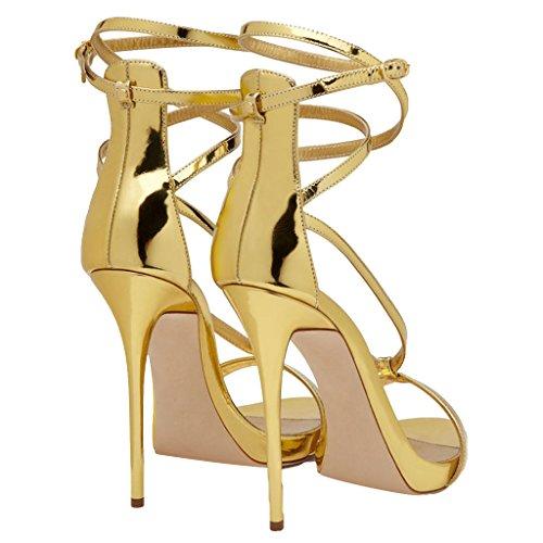 Aperte Moda Con Di Tacco Donne Partito sandali Heels Del Gold In Fine Delle Punta Ragazze qnxO70Aww5