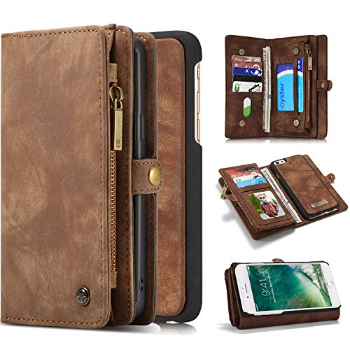 Pocket Pc Leather - Harsel 11 Card Slots [Magnetic Closure] Detachable Leather Wallet Purse Case With Zipper Pocket Removable Protective Hard PC Cover for Apple iPhone 7 / Iphone 8 (Brown)