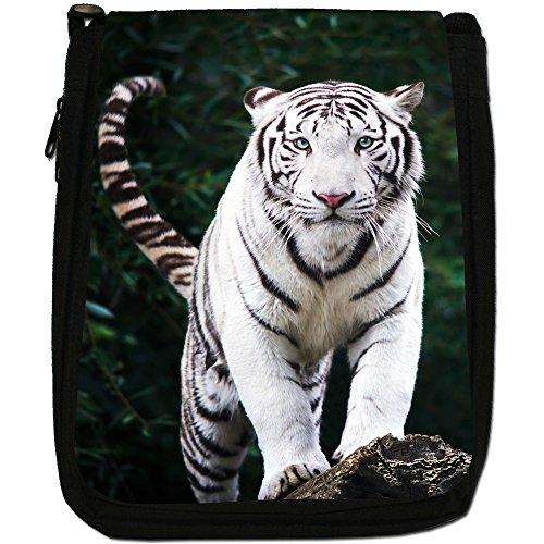 White Taglia Tela Tiger Borsa A Nero In Gaze Of Bianco Tigri M Medium qPxOOU