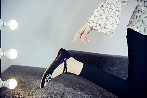 Tianrui Negro de Mujer Crown Para Lona Sandalias Vestir de rqr8O1