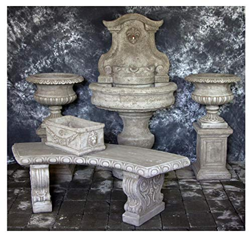 (Fleur de Lis Garden Ornaments LLC Palermo Wall Fountain with Classic Base and Italian Urns with Curved Bench Package Number 1039)