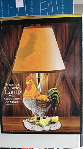 """11"""" HAND PAINTED ROOSTER AND CHICKS ACCENT LAMP WITH SILHOUETTE SHADE"""