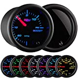 "GlowShift Tinted 7 Color 15 PSI Turbo Boost/Vacuum Gauge Kit - Includes Mechanical Hose & T-Fitting - Black Dial - Smoked Lens - for Cars - 2-1/16"" 52mm"