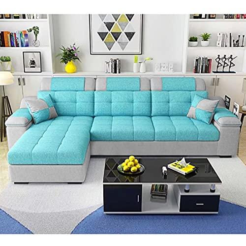 Woodcasa 4 Seater Aquilo LHS Fabric L Shape Sofa Set  Aqua Blue Light Grey