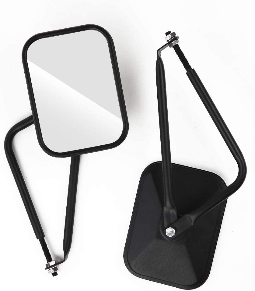 JeCar Doors Off Mirrors Square Side Rear View Quick Release Mirrors for Jeep Wrangler 1997-2020 TJ JK JL JT 1 Pair
