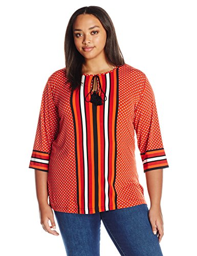 Jones New York Women's Plus Size Diamond Stripe Print Mix Tunic, Mandarin Multi, 2X