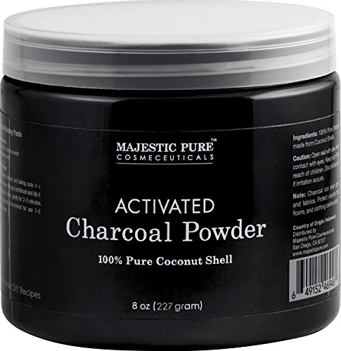 Majestic Pure Activated Charcoal Powder for DIY Recipes - Facial Masks, Facial Scrubs, Knee Lightening, Underarm Lightening, Homemade Eyeliner, Mascara, and Teeth Whitening , 8 oz