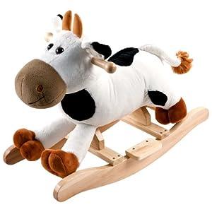 Happy Trails Plush Rocking Connie Cow, White/Brown, 25.5″ Lx13.25 Wx19.75 H (80-RX8083)