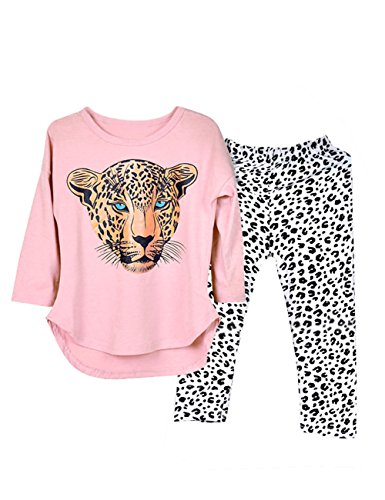 [Kidlove Leopard Head Print T-shirt Skinny Legging Pants Girls Clothing Set Outfit Girls Clothes Pajamas Size 8 Size 7] (Elvira Outfit)