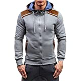 Charberry Mens Zipper Hooded Pullover Top 2018 Newest Autumn Winter Long Sleeve Sweatshirt Blouse (US-M/CN-L, Gray)