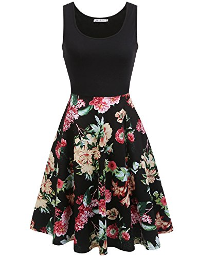 Cocktail Sleeveless amp;Steve Black1 Macr Women's Floral Floral Summer Swing Vintage Party Dress p0Hfdqwx