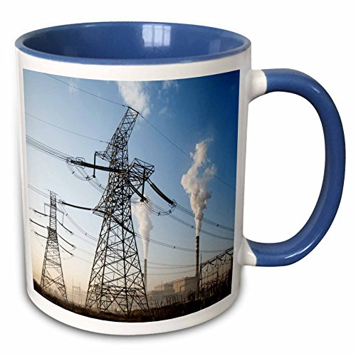 3dRose Danita Delimont - Energy - China, Datong, smokestacks at coal-fired Power Station - 15oz Two-Tone Blue Mug (mug_225565_11) ()