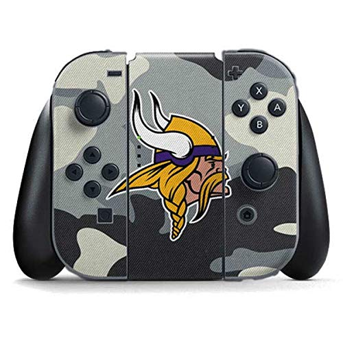 Skinit Minnesota Vikings Camo Nintendo Switch Joy Con Controller Skin - Officially Licensed NFL Gaming Decal - Ultra Thin, Lightweight Vinyl Decal Protection