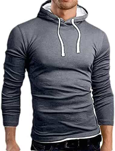 Lutratocro Men Drawstring Oblique Zipper Pocket Contrast Color Loose Hooded Sweatshirts