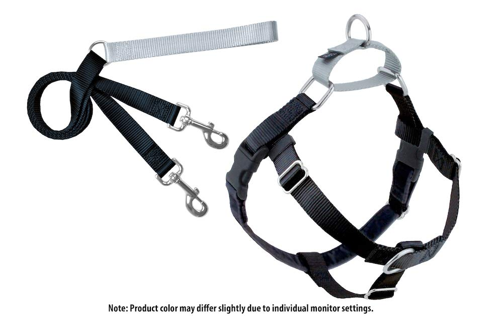 2 Hounds Design Freedom No-Pull Dog Harness and Leash, Adjustable Comfortable Control for Dog Walking, Made in USA (XLarge 1'') (Black)