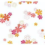 York Wallcoverings YK0150SMP York Kids IV Flower Power 8-Inch x 10-Inch Memo Sample Wallpaper, Orange/Yellow