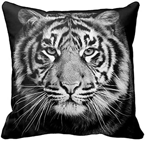 Poppy Baby Black And White Tiger Photo Zippered Pillow Case Home Decorative Cushion Covers Square 18x18 Inch Two Sides Home Kitchen
