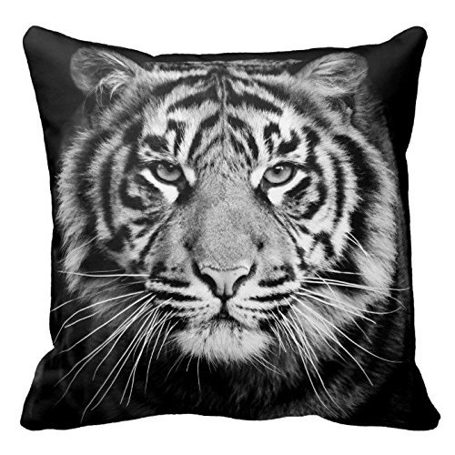 Black and White Tiger Photo Zippered Pillow Case Home Decorative Cushion Covers Square 18x18 Inch (Two Sides)