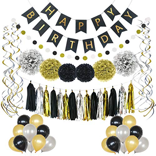 LITAUS Birthday Decorations, Black and Gold Party Supplies, Serves 59, Includes Happy Birthday Banner, Party Balloons, Hanging Swirls, Garland, Tassels, Paper Flowers for Parties, Baby -