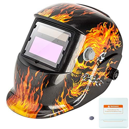 Z ZTDM Welding Helmet Mask Solar Auto Darkening,Adjustable Shade Range DIN 9-13/Rest DIN 4,Welder Protective Gear ARC MIG TIG,2pcs Extra Lens+CR2032 Battery (Flame Skeleton)