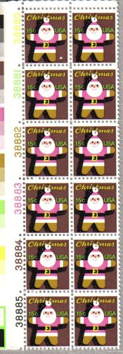 (CHRISTMAS ~ GINGER BREAD ~ SANTA ORNAMENT #1800 Plate Block of 12 x 15¢ US Postage Stamps)