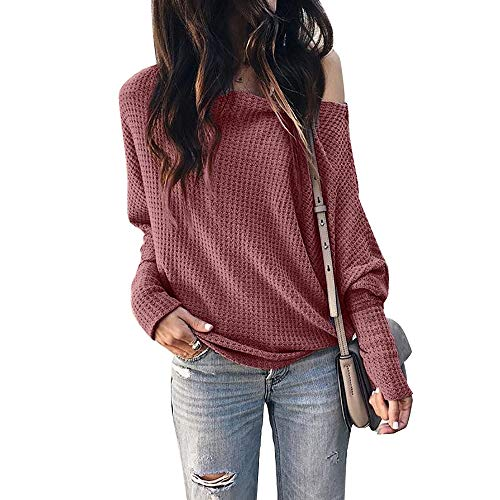 - Okvpajdo Women's Off Shoulder Waffle Knit Long Sleeve Loose Pullover Tunic Tops Shirts Sweatshirt Brick Red